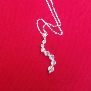 Jewelry - 7 stone pendant necklace with ss chain